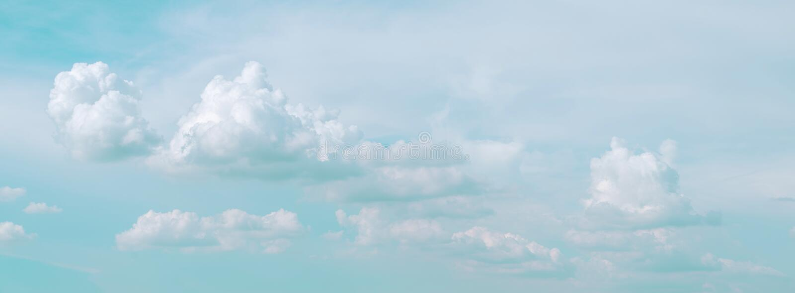Sky cloud blue background panorama, beautiful white, bright weather light simmer stock image