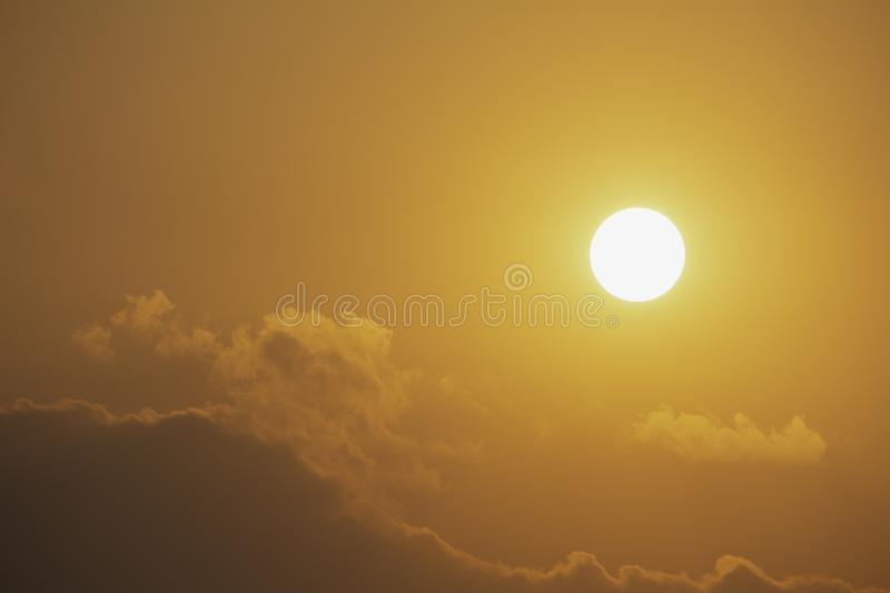The sky with cloud and sunset for clean energy power, clear weather concept stock images