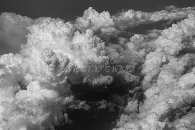 Sky and cloud view from airplane black and white concept. royalty free stock image