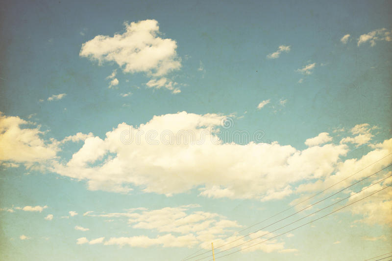 Sky with cloud. Vintage color tone, nature background stock photography