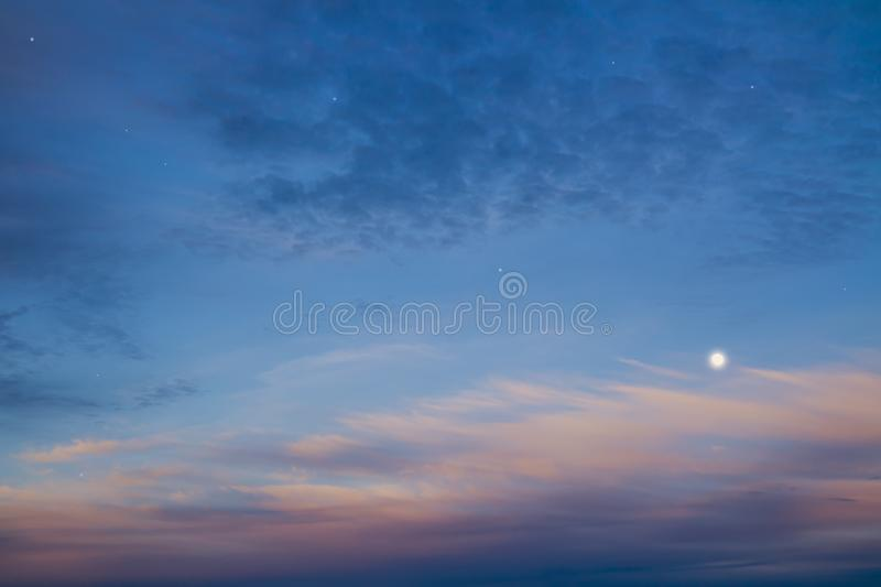 Download Beautiful Night Sky With Moon And Stars Majestic Sunset Stock Image