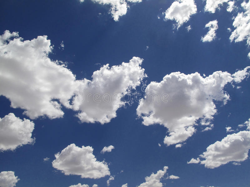Sky and clouds. Blue ky and white clouds stock photography