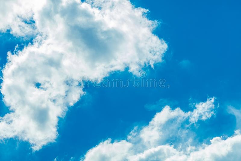 Sky with clouds. Deep blue bright sky with clouds background stock images