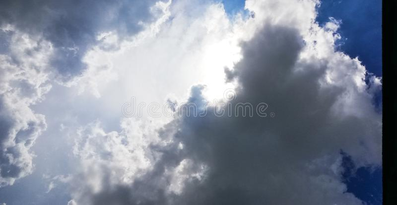 Sky with clouds before the rain comes. Sky with clouds and light of the sun before the rain comes royalty free stock images