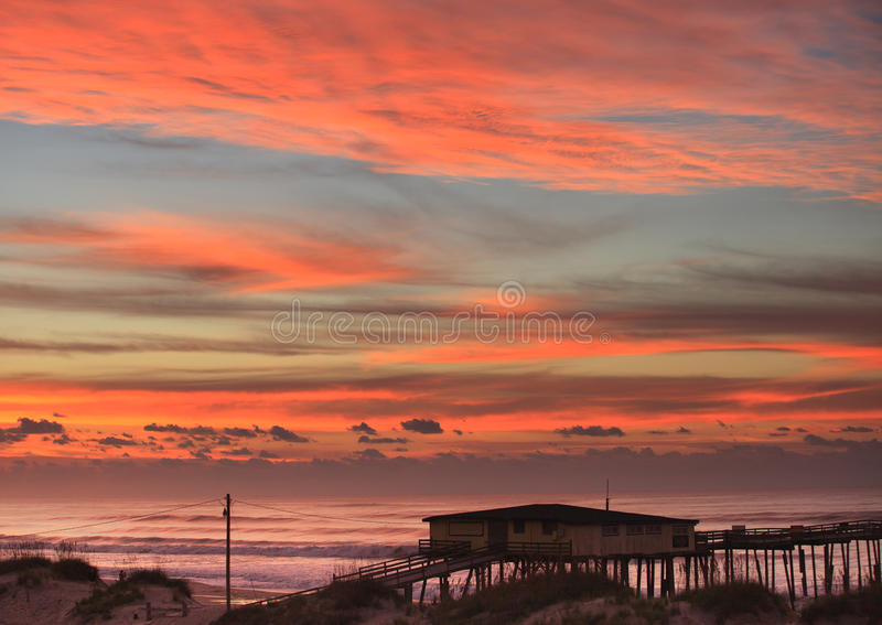 Download Sky And Clouds Over Fishing Pier NC Coast Stock Photo - Image of remote, coast: 27870068