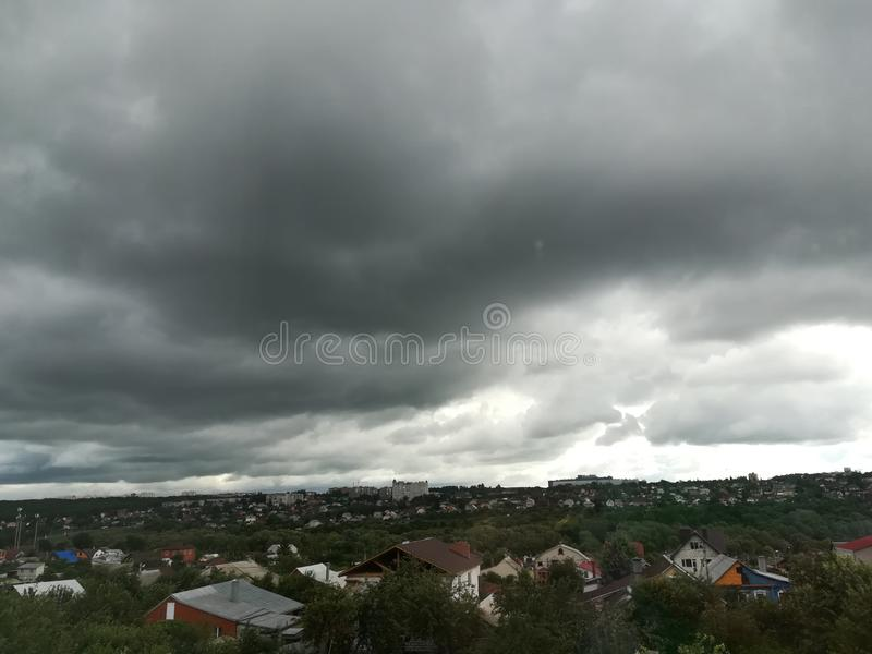 The sky clouds before the rain thunderstorm weather dark blue nature outdoor royalty free stock photography