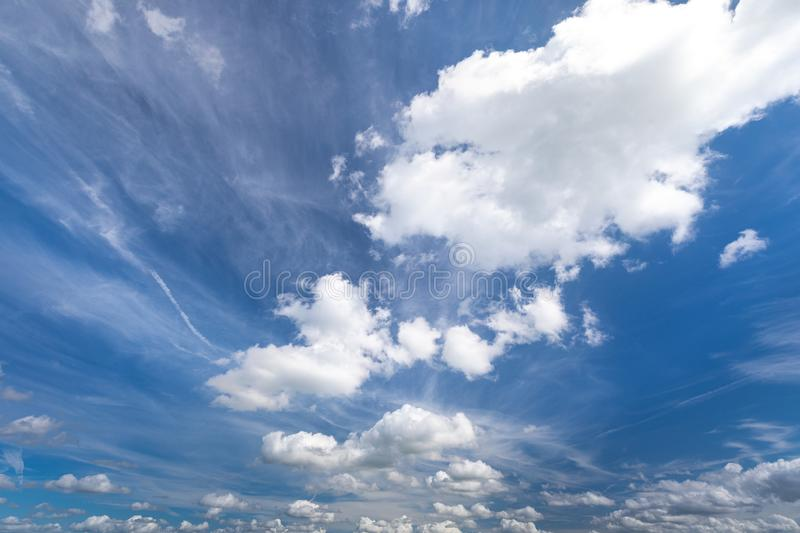 Sky with clouds in summer for background pictures stock photo