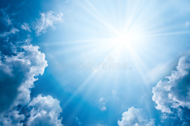 Sky with clouds and sun stock photography
