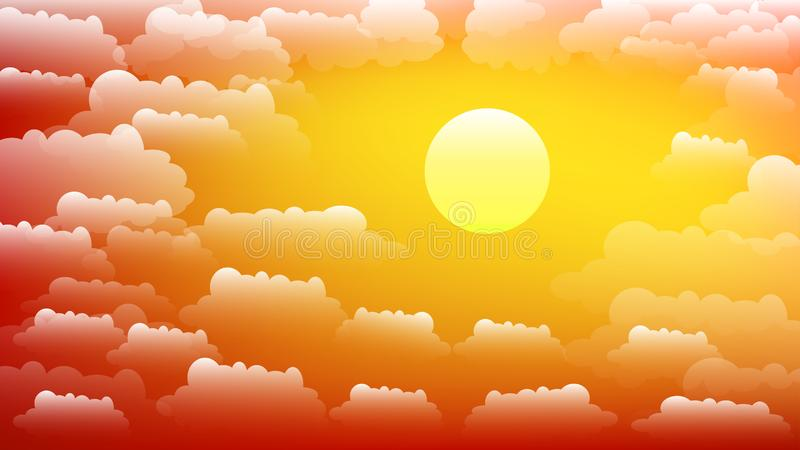 The sky with clouds and sun. Sunset. Summer Vector background in 16:9 aspect ratio. The sky with clouds and sun. Sunset. Summer Vector background in 16:9 aspect stock illustration