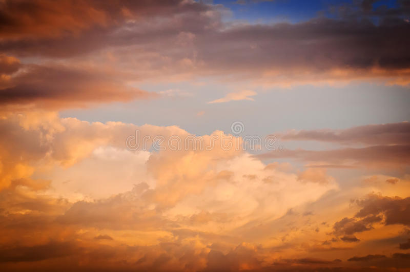 Sky with clouds at sunset royalty free stock photo