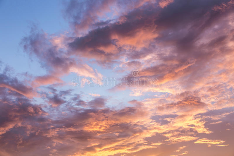 Sky with clouds during sunset stock photos