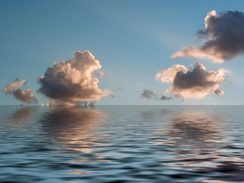 Sky, clouds and water reflection stock image
