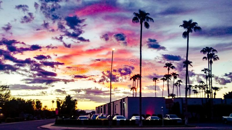 Sky coming to life at dawn. Autumn Desert Sunrise, sky coming to life at dawn royalty free stock images