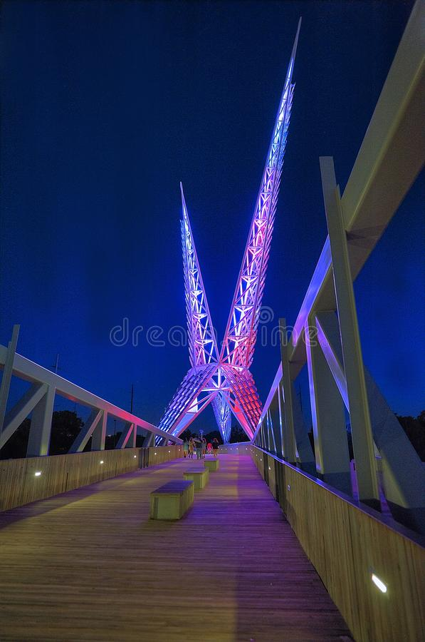 Sky dance bridge on I-40 in Oklahoma City, vertical image. Vertical image of Sky dance bridge.  Modern structure. Structure on bridge over I-40 highway in stock photos