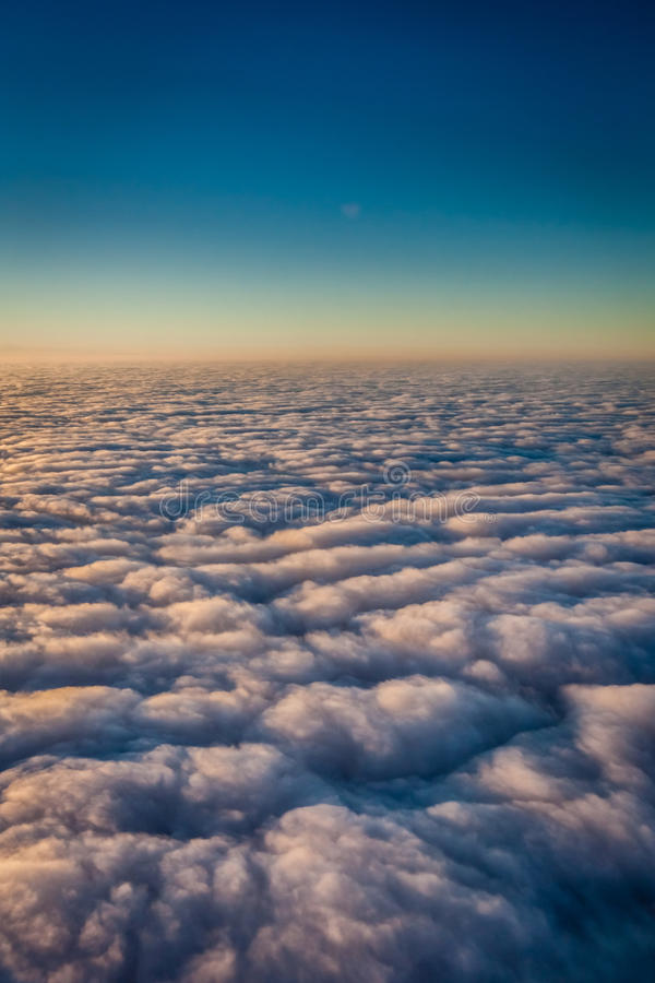Sky and dense clouds from above royalty free stock photos