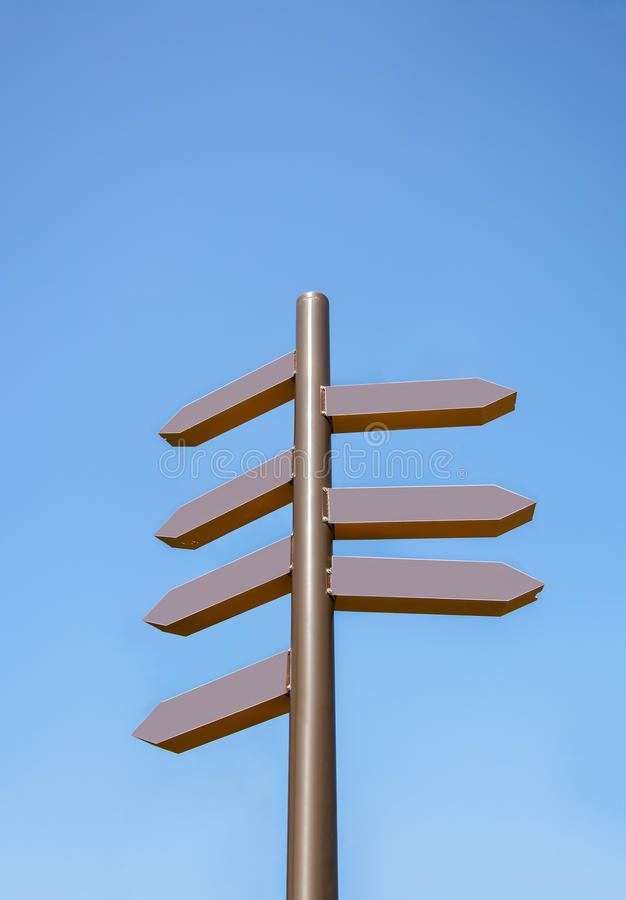 Sky and direction signs. Blue sky and direction signs royalty free stock photo