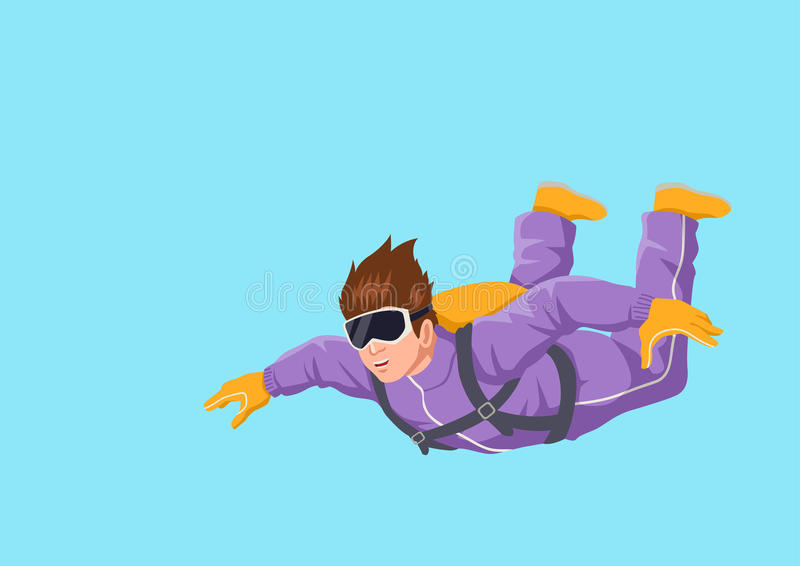 Sky diving. Cartoon illustration of a man sky diving vector illustration