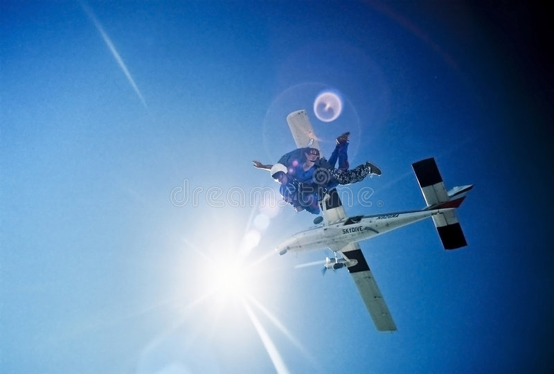 Sky diving free fall stock image