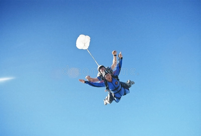 Sky diving thrill stock photos