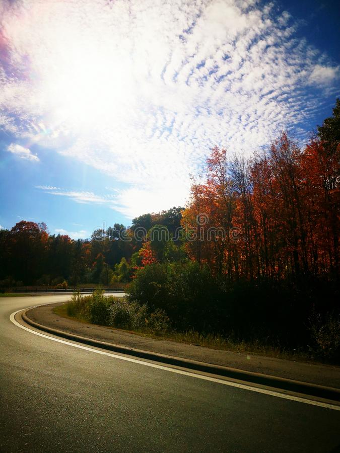 Sky Drive Autumn Fall Road Clouds Driving Clear Day stock photos