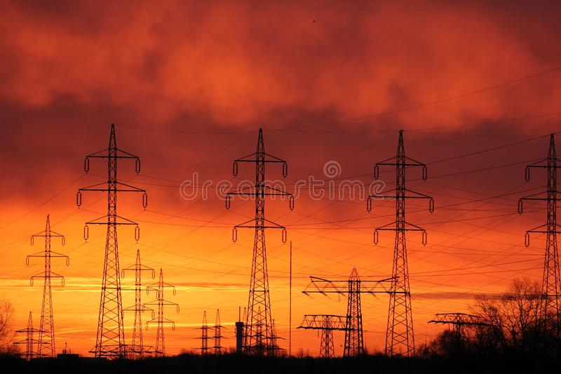 Sky, Electricity, Afterglow, Red Sky At Morning stock images