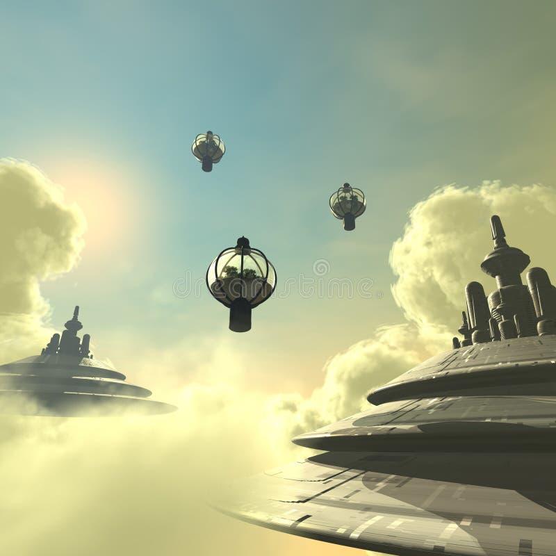 sky för 02 stad vektor illustrationer
