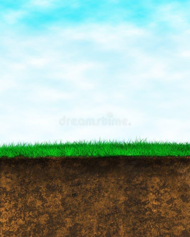 sky för bakgrundsjordgräs stock illustrationer