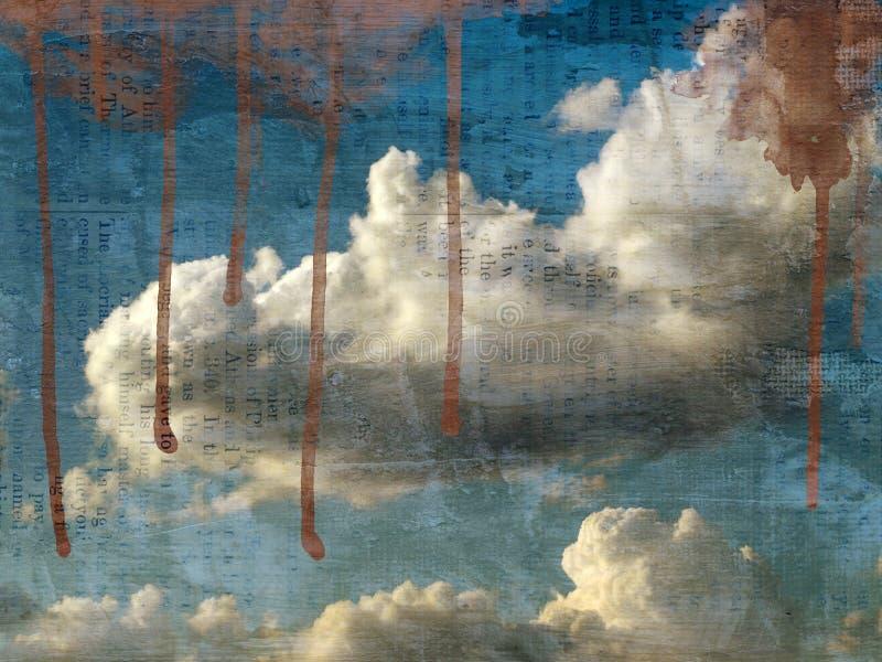 sky för molnig bild för bakgrund retro stock illustrationer