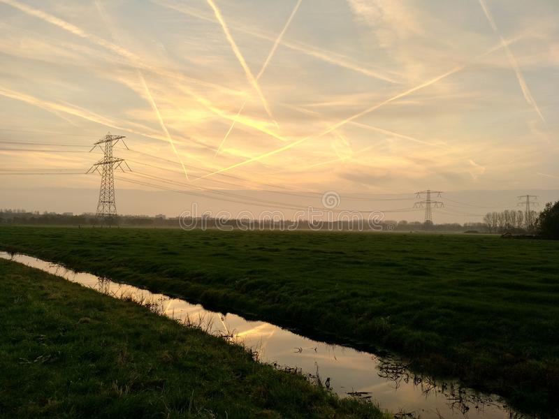 Sky, Field, Transmission Tower, Morning royalty free stock image