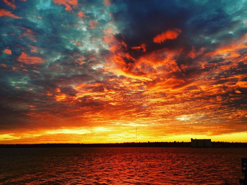 The sky is on fire stock images