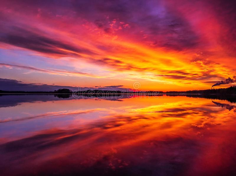 The sky is on fire royalty free stock images