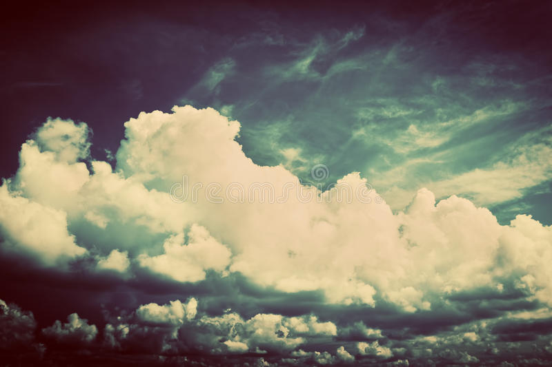 Sky with fluffy clouds. Retro, vintage stock photos