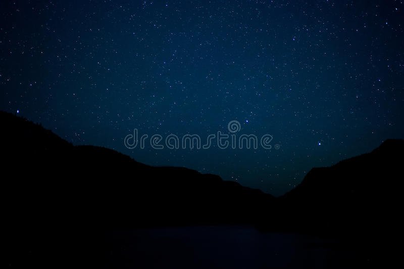 Sky full of stars. In Jacques-Cartier National Park in Quebec, Canada royalty free stock photo