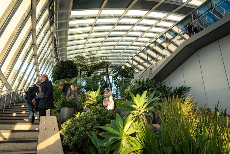 The Sky Garden at 20 Fenchurch Street is a unique public space. It features a stylish restaurant; brasserie and cocktail bar. London, Uk - January 17 2019: The stock photos