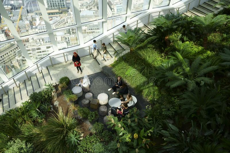 Sky Garden London filled with indoor tropical plants royalty free stock photo