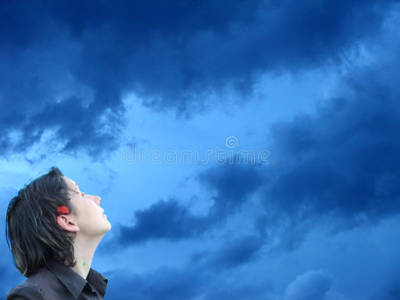 Sky Girl Perspective royalty free stock photo