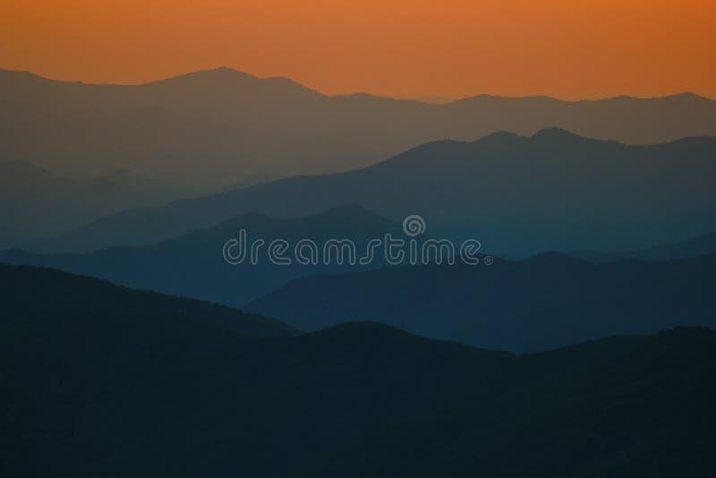 Smokey Mountains Orange Glow stock images
