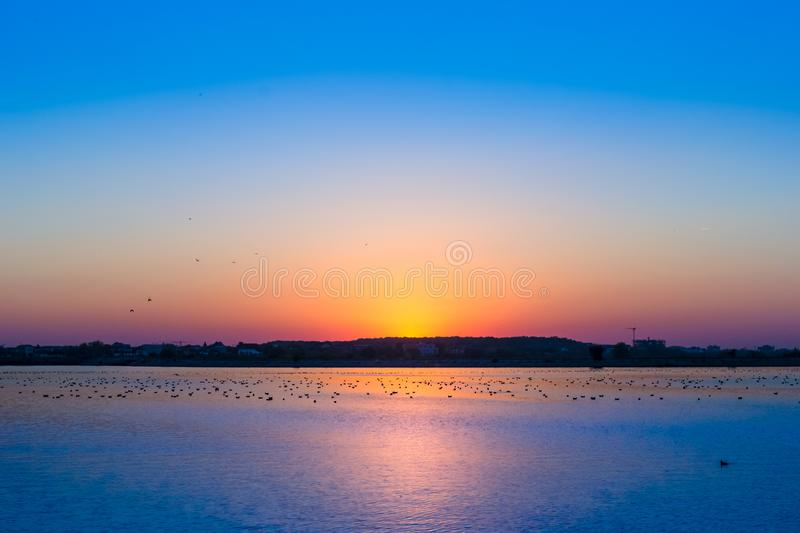 Sky After The Golden Hour. Scenic view of blue sky after the golden hour in Bucharest, Romania royalty free stock image