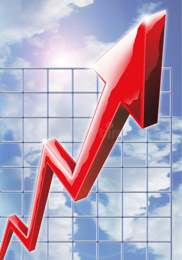 Sky High Profits. Computer generated image illustrating extreme business growth