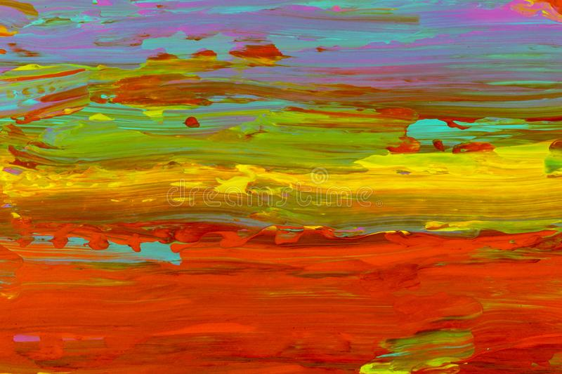 Sky horizon red yellow green blue colors smear background pattern. Brush marks royalty free stock photography