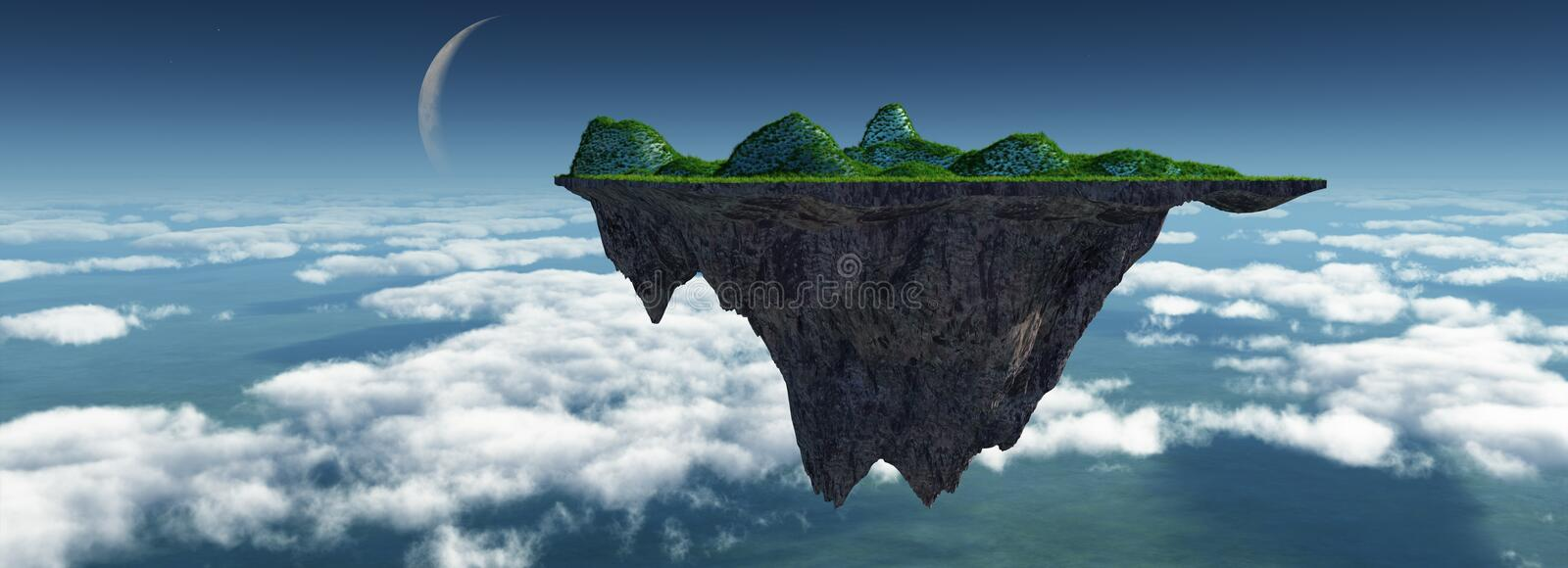 Sky island. 3d render of abstract sky islands stock illustration