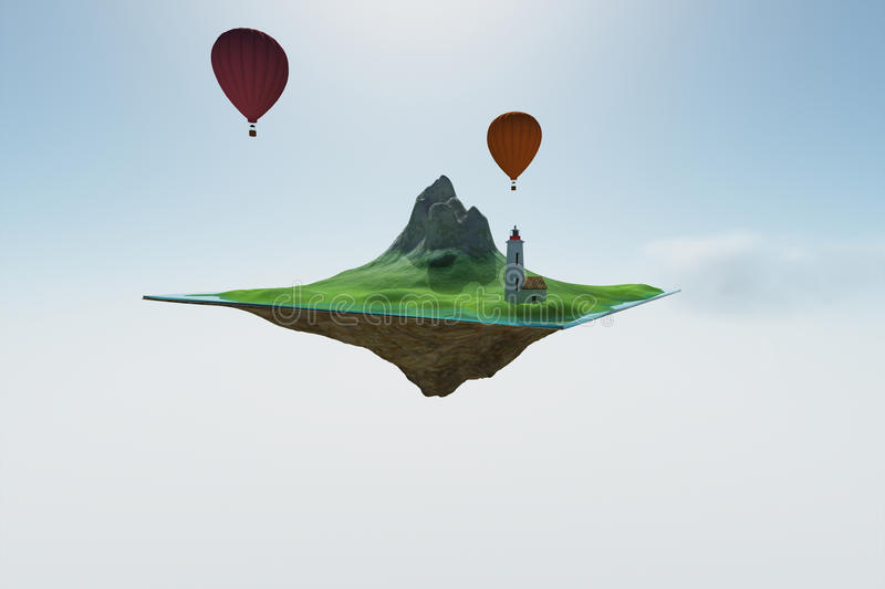 Sky island. 3d render of abstract sky islands royalty free illustration