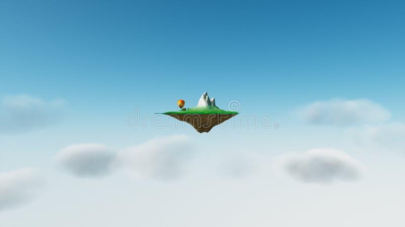Sky island. 3d render of abstract sky islands vector illustration