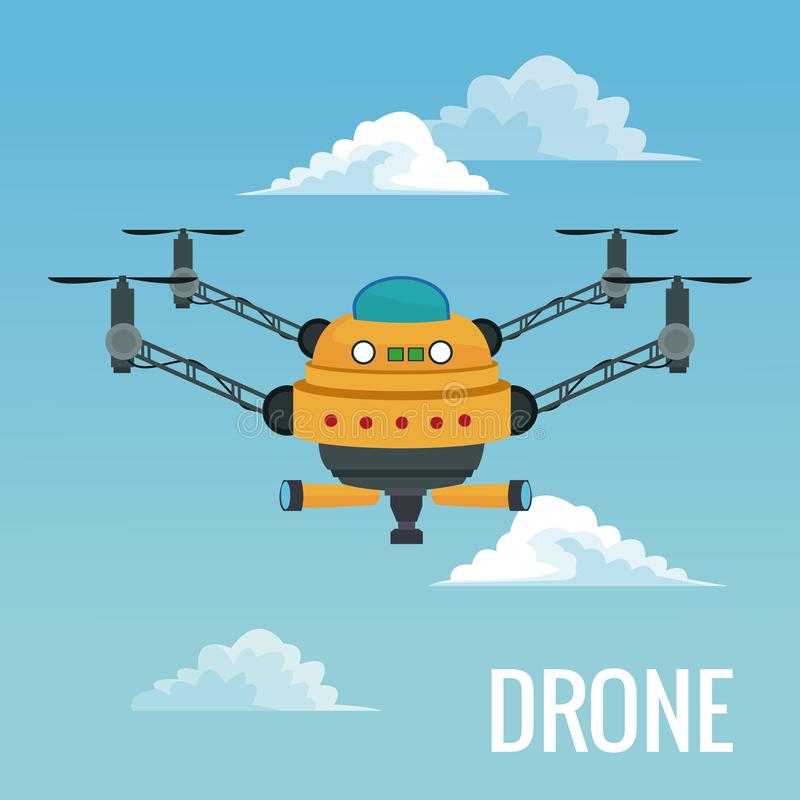 Sky landscape background big robot drone with four airscrew and pair of telescope. Vector illustration vector illustration