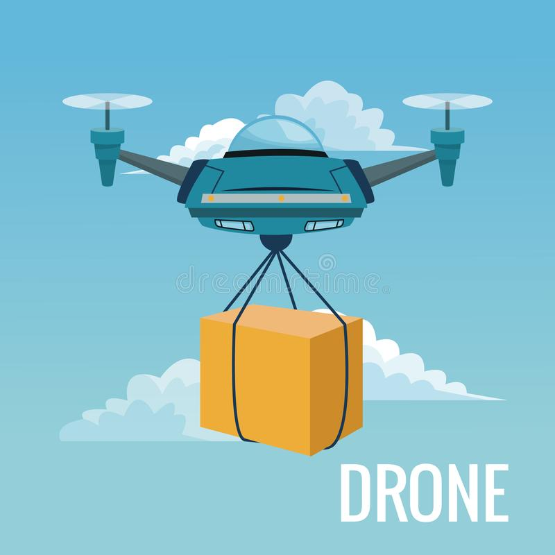 Sky landscape background robot drone carrying box with pair of airscrew. Vector illustration royalty free illustration