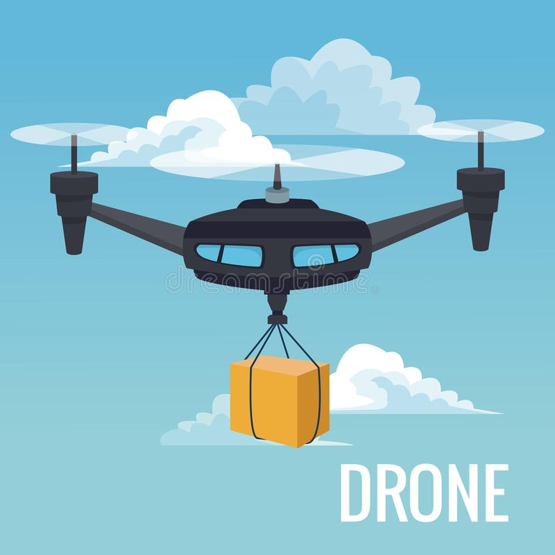 Sky landscape background robot drone carrying box with three airscrew. Vector illustration stock illustration