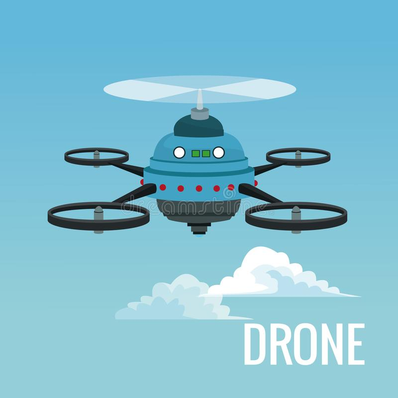 Sky landscape background robot drone with five airscrew. Vector illustration stock illustration