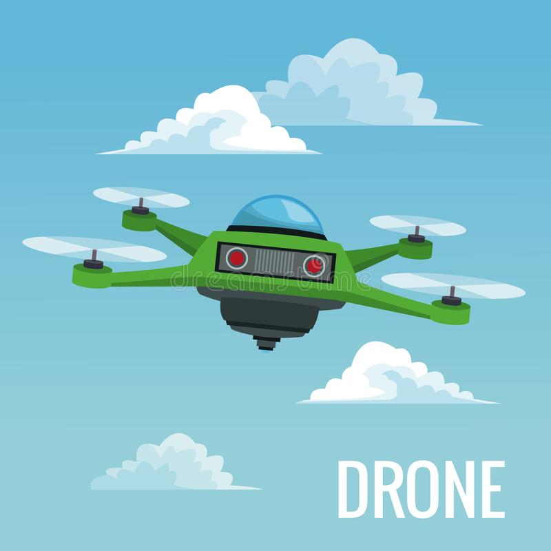 Sky landscape background robot drone with four airscrew. Vector illustration vector illustration