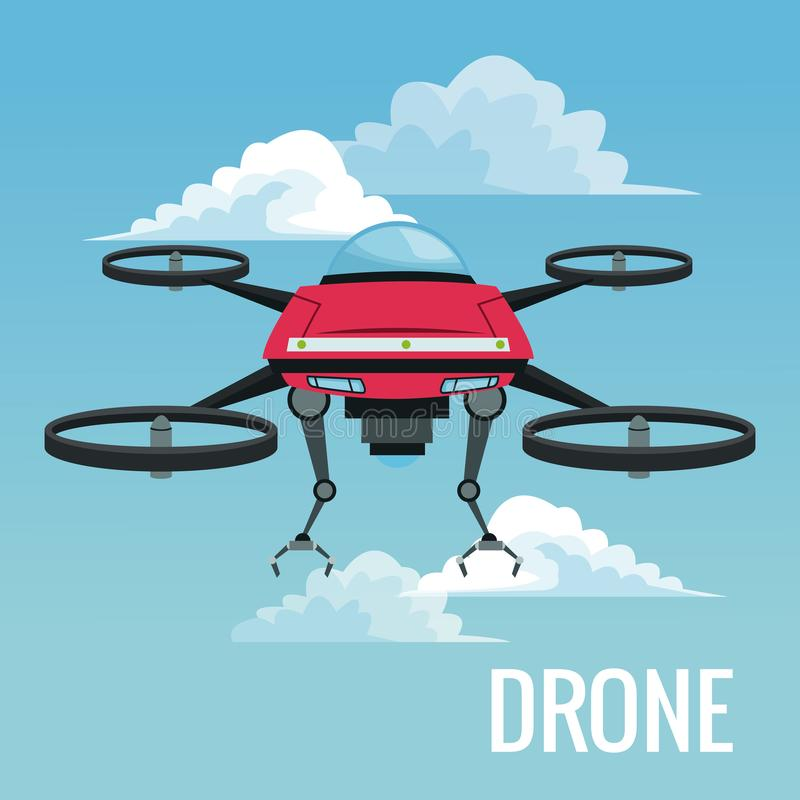 Sky landscape background robot drone with metal arms and four airscrew. Vector illustration vector illustration