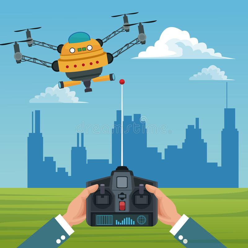 Sky landscape with buildings scene and people handle remote control with big robot drone with four airscrew and pair of. Telescope vector illustration vector illustration
